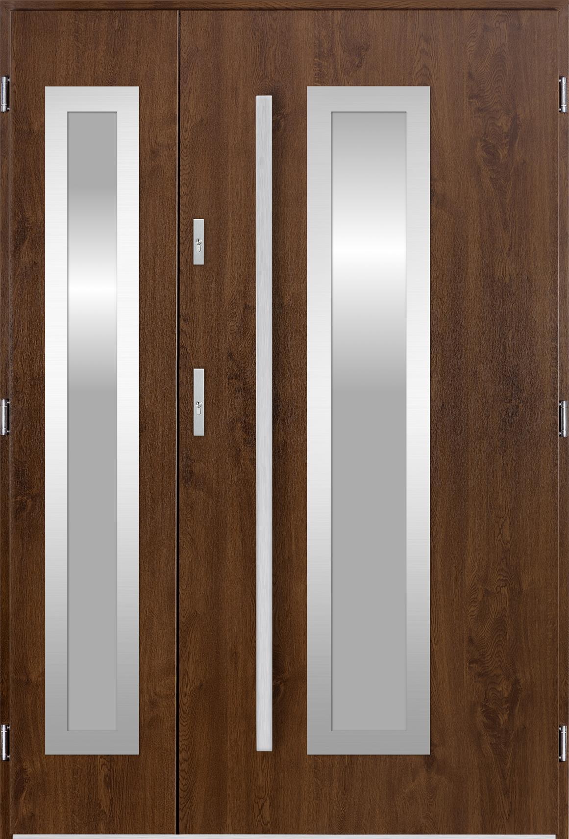 Venkovní dvoukøídlé vchodové dveøe Hevelio v odstínu oøech