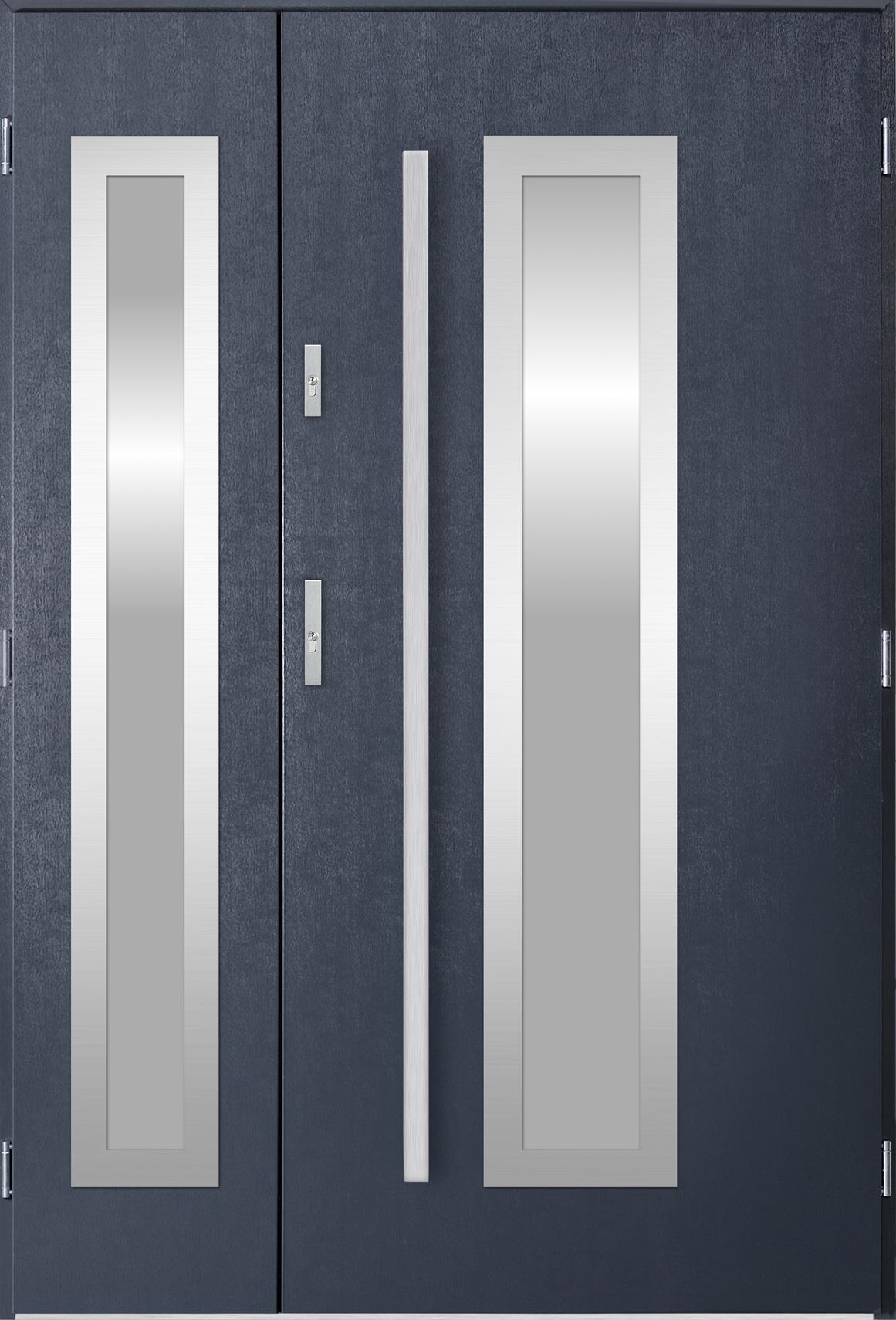 Dvoukøídlé ocelové vchodové dveøe Hevelio, tmavý antracit