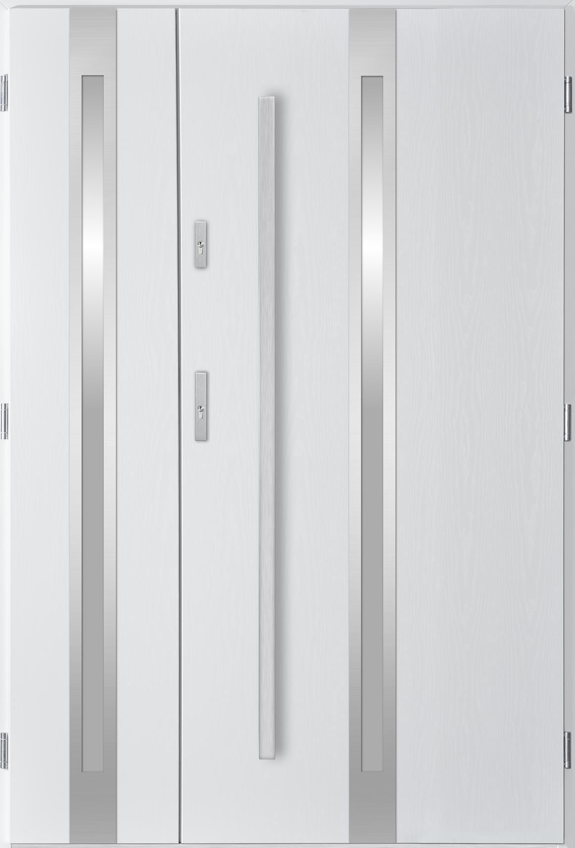 Dvoukøídlé ocelové vchodové dveøe Linea, bílá