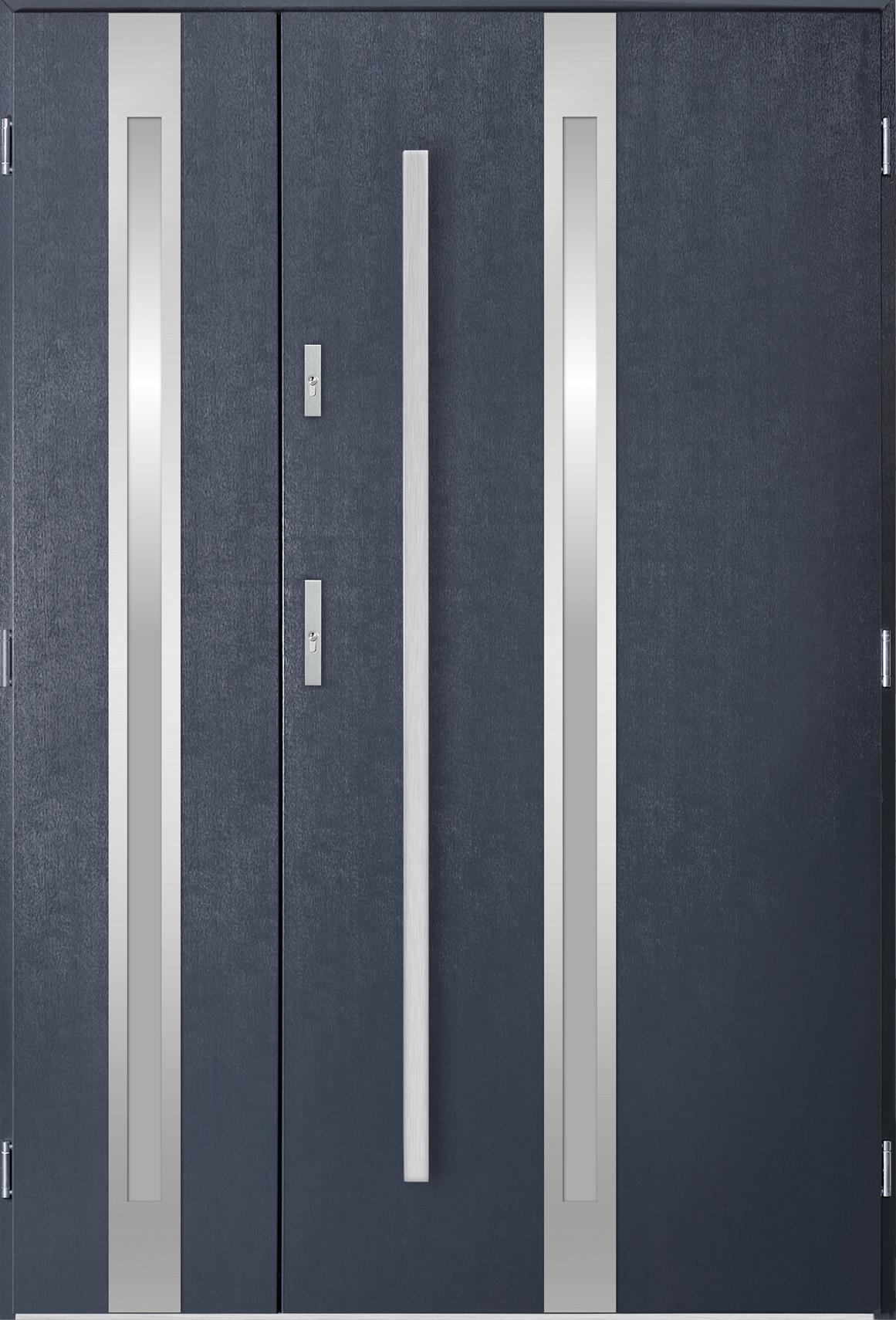 Dvoukøídlé ocelové vchodové dveøe Linea, tmavý antracit