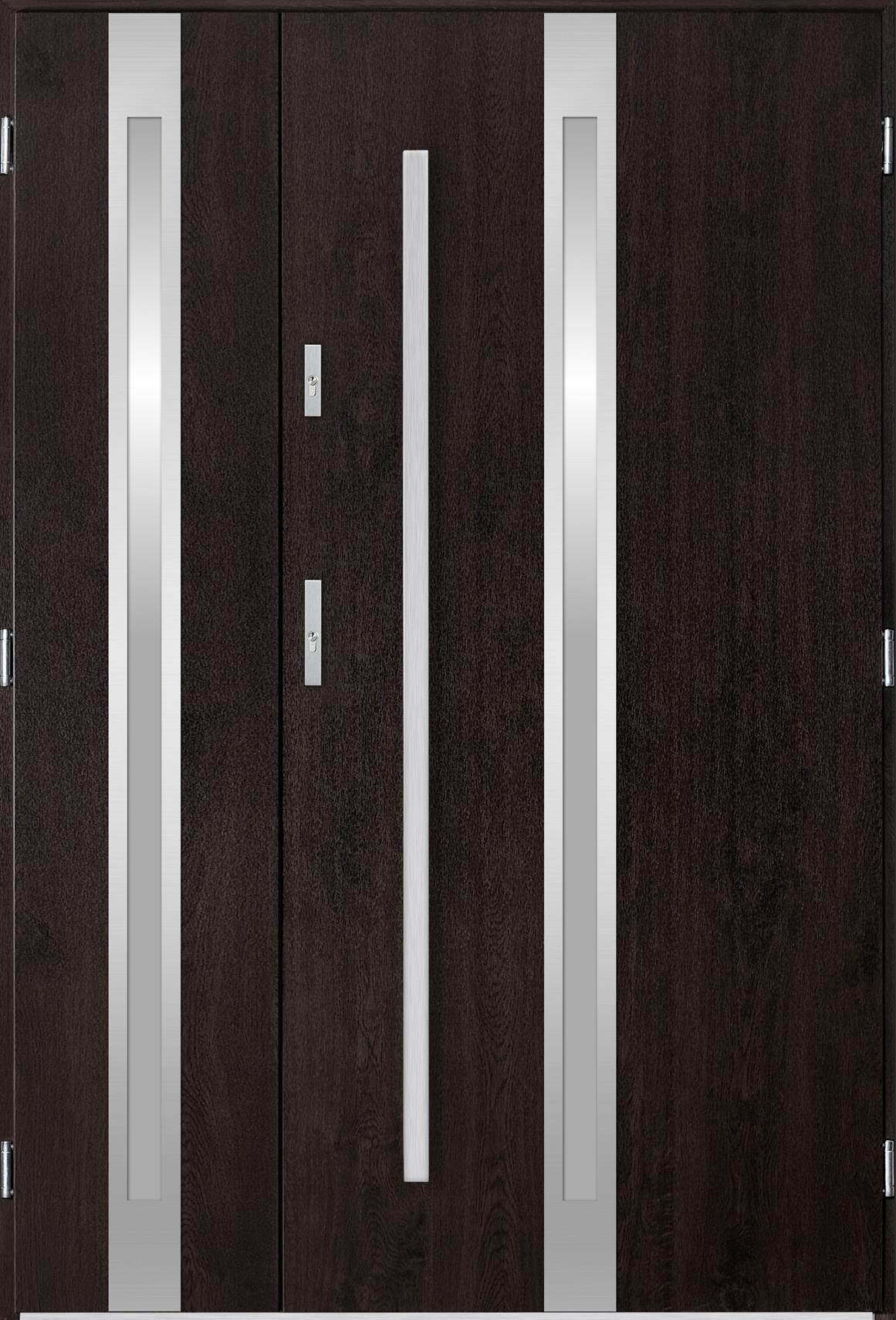 Venkovní dvoukøídlé vchodové dveøe Linea v odstínu wenge