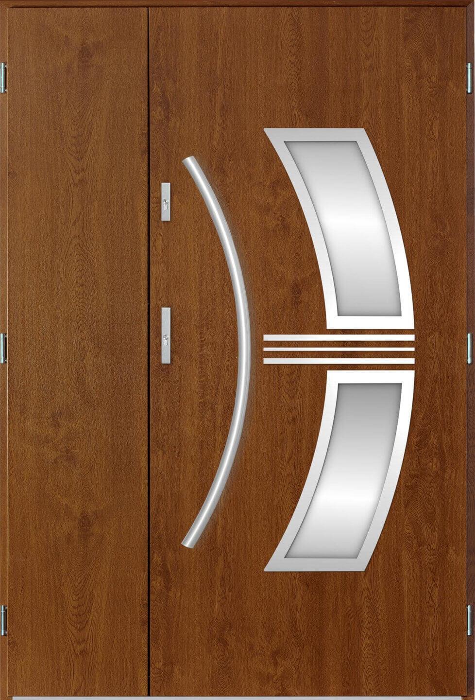 Venkovní dvoukøídlé vchodové dveøe Stella v odstínu zlatý dub
