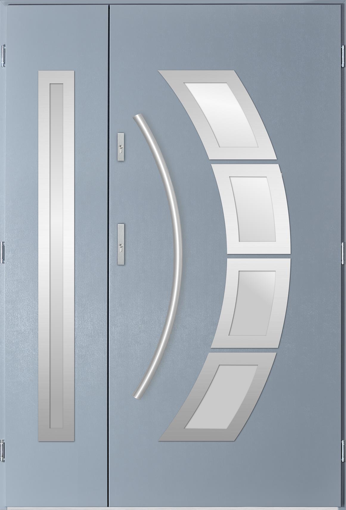 Venkovní dvoukøídlé vchodové dveøe Tanya v odstínu svìtlý antracit