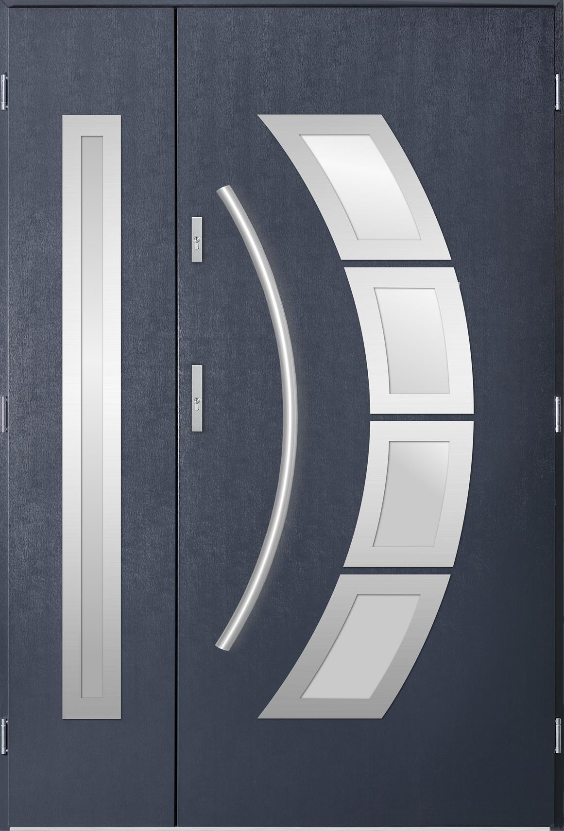 Dvoukøídlé ocelové vchodové dveøe Tanya, tmavý antracit